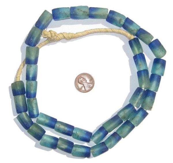 Seaside Rectangular Recycled Glass Beads 16mm