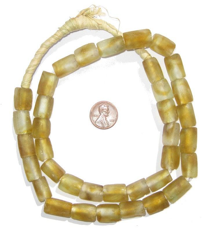 Brown Swirl Rectangular Recycled Glass Beads 16mm - The Bead Chest