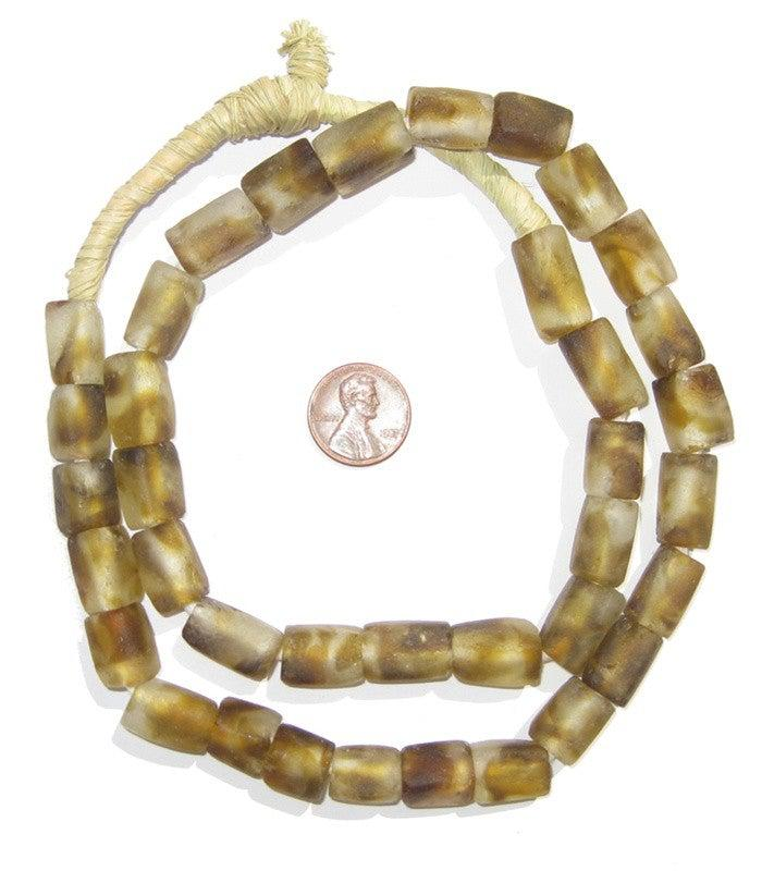 Dark Brown Swirl Rectangular Recycled Glass Beads 16mm - The Bead Chest