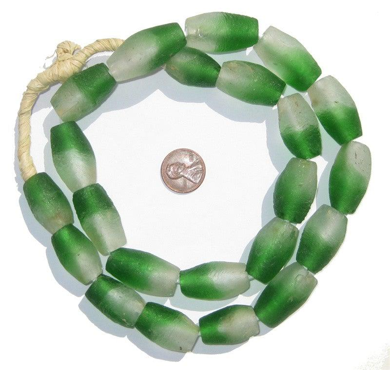 Green Fade Oblong Recycled Glass Beads - The Bead Chest