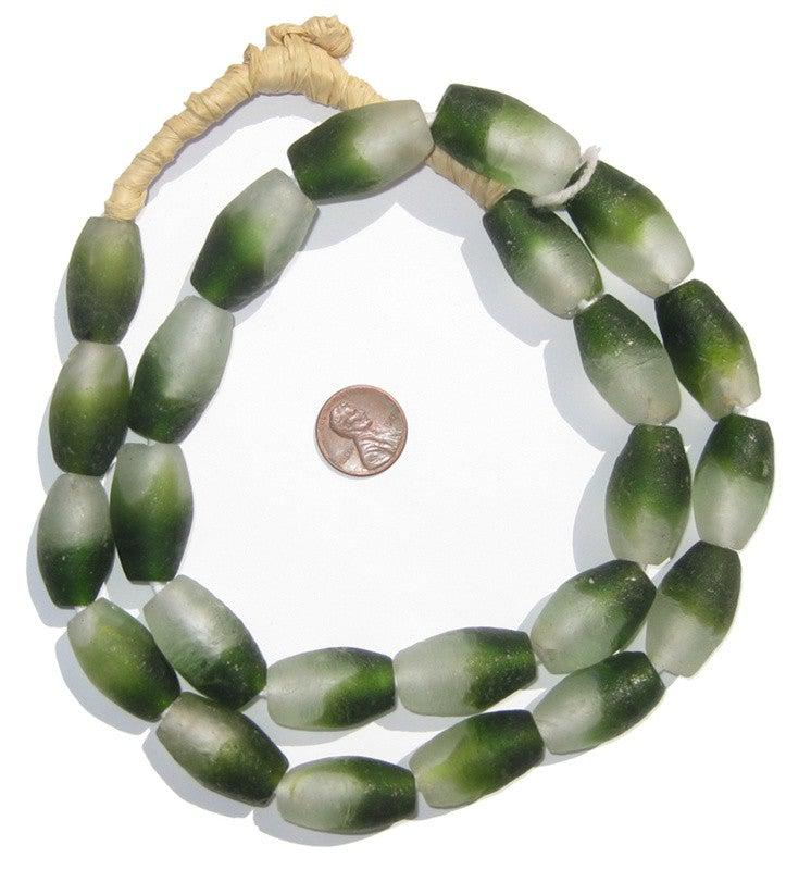 Forest Green Fade Oblong Recycled Glass Beads - The Bead Chest