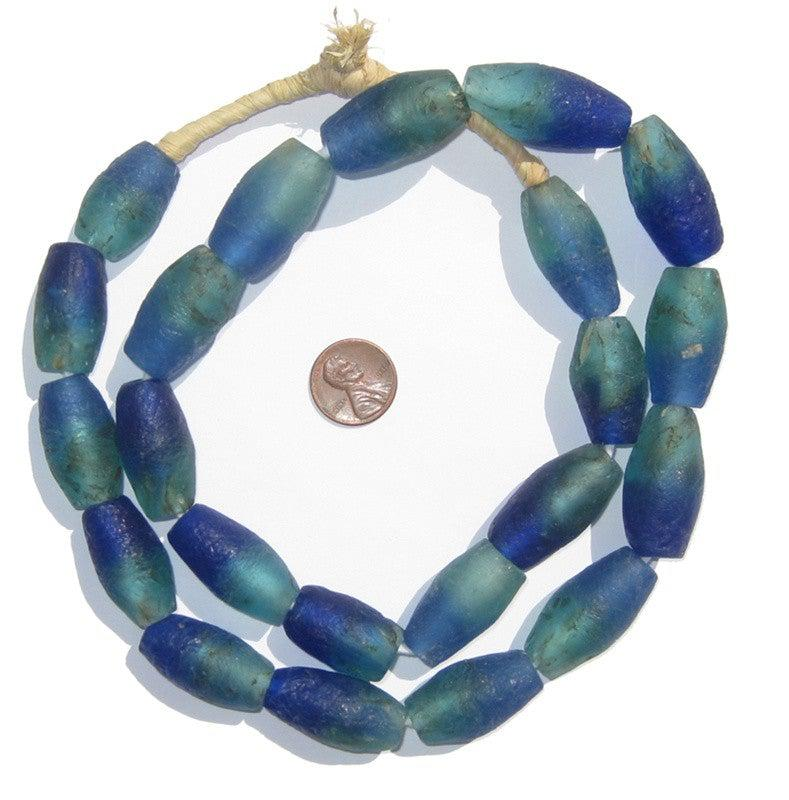 Seaside Blue Oblong Recycled Glass Beads - The Bead Chest