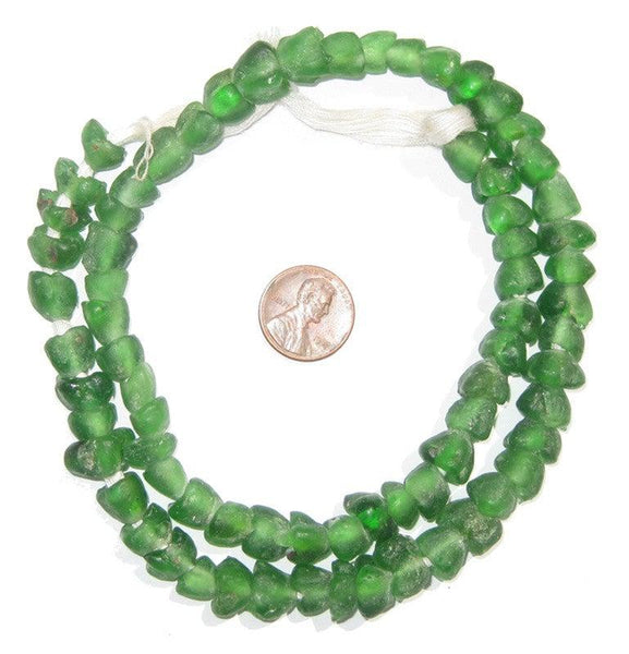 Green Glass Flower Beads