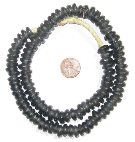 Charcoal Rondelle Recycled Glass Beads - The Bead Chest