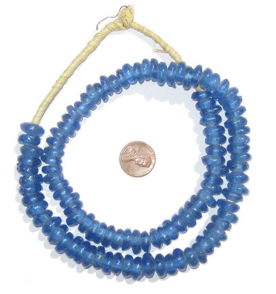 Blue Rondelle Recycled Glass Beads