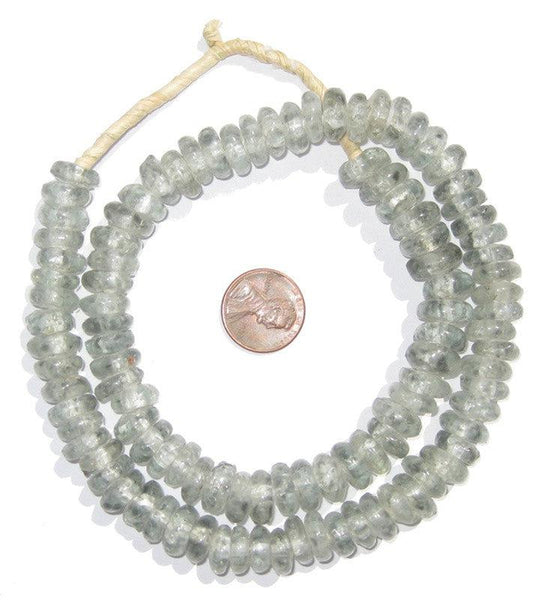 Grey Mist Rondelle Recycled Glass Beads