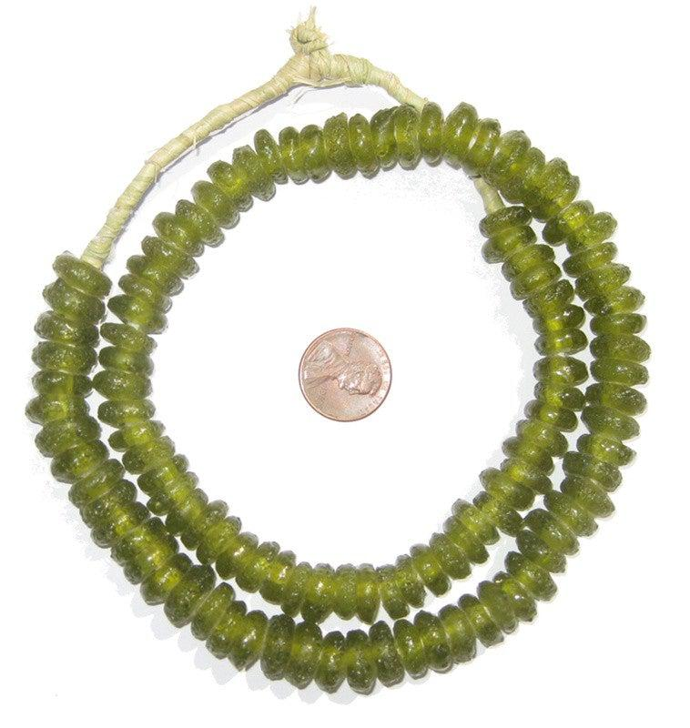 Lime Rondelle Recycled Glass Beads - The Bead Chest