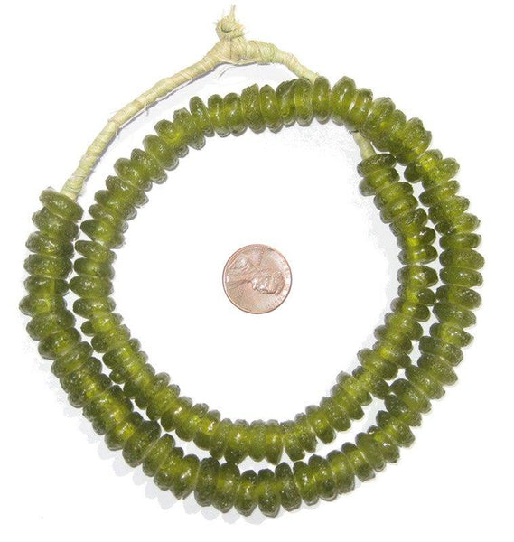 Lime Rondelle Recycled Glass Beads