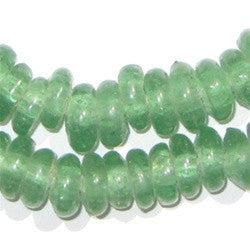 Light Green Rondelle Recycled Glass Beads - The Bead Chest