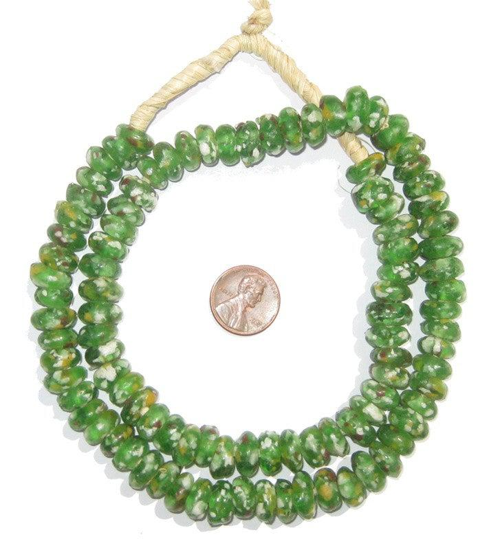 Green Mosaic Rondelle Recycled Glass Beads - The Bead Chest