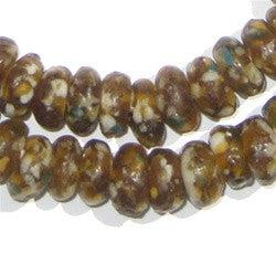 Brown Mosaic Rondelle Recycled Glass Beads - The Bead Chest