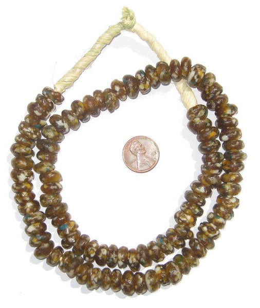 Brown Mosaic Rondelle Recycled Glass Beads