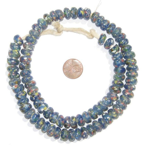Blue Mosaic Rondelle Recycled Glass Beads - The Bead Chest