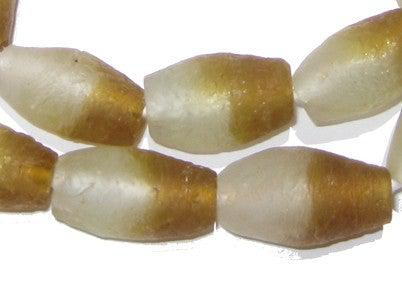 Brown Fade Oblong Recycled Glass Beads - The Bead Chest