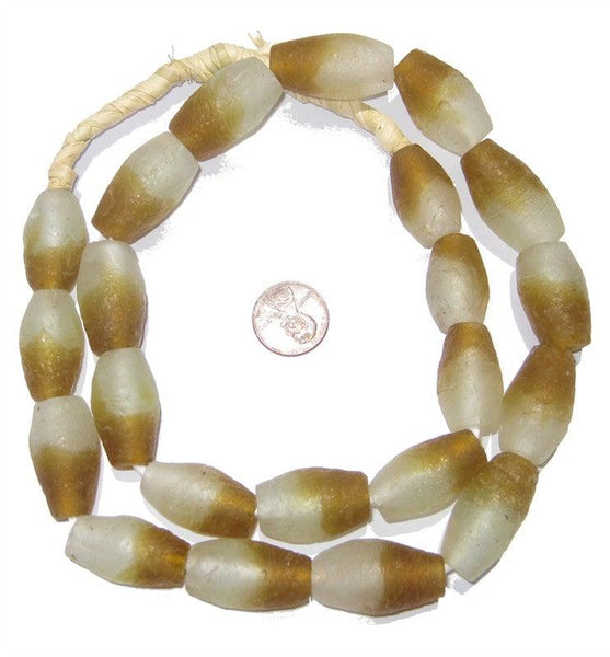 Brown Fade Oblong Recycled Glass Beads
