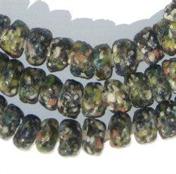Olive Green Mosaic Rondelle Recycled Glass Beads - The Bead Chest