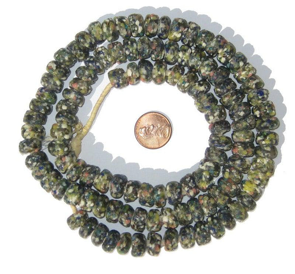 Olive Green Mosaic Rondelle Recycled Glass Beads