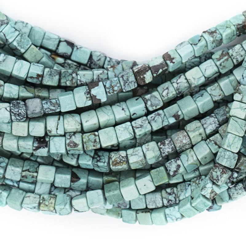 Authentic Turquoise Stone Cube Beads (4mm) - The Bead Chest