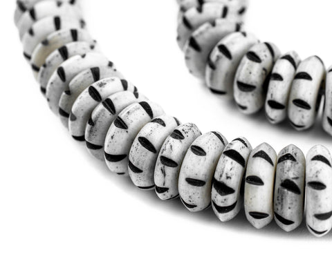 Grey Carved Disk Bone Mala Beads (13mm) - The Bead Chest