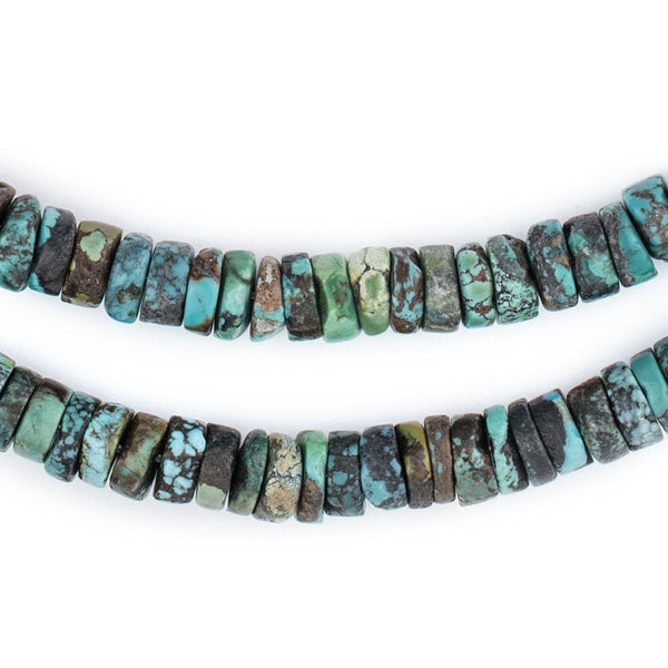 Green Turquoise Stone Disk Beads (8mm) - The Bead Chest