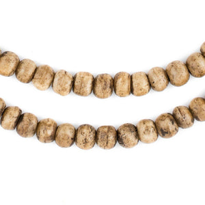 Rustic Brown Round White Bone Beads (8mm) - The Bead Chest