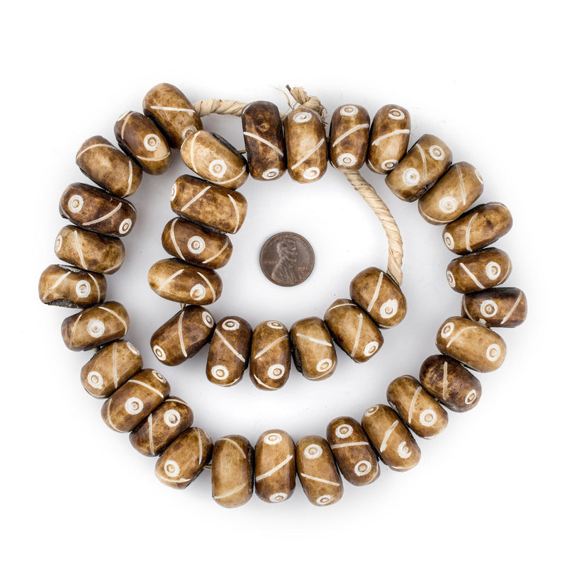 Brown Criss Cross Eye Carved Bone Beads (Large) - The Bead Chest