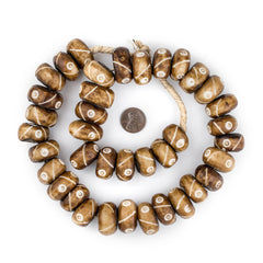 Brown Criss Cross Eye Carved Bone Beads (Large)