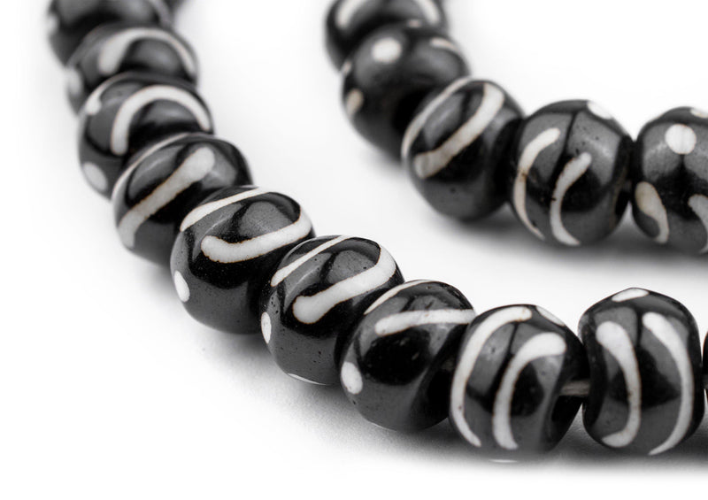 Dotted Wave Round Mala Bone Beads (8mm) - The Bead Chest