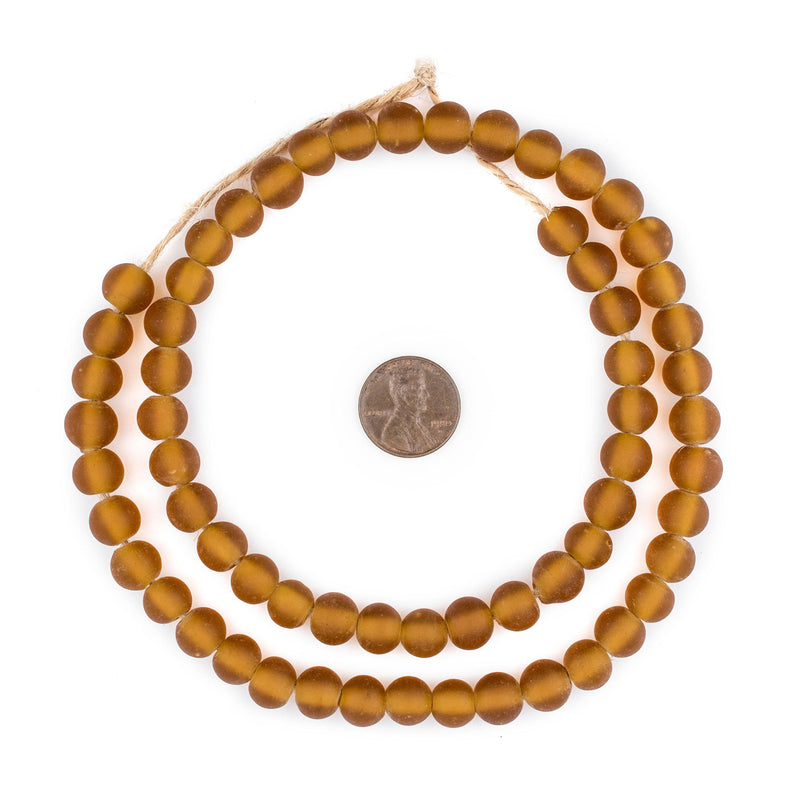 Amber Frosted Sea Glass Beads (9mm) - The Bead Chest
