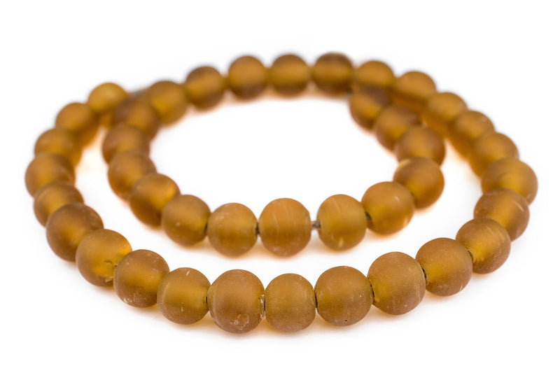 Amber Frosted Sea Glass Beads (14mm) - The Bead Chest