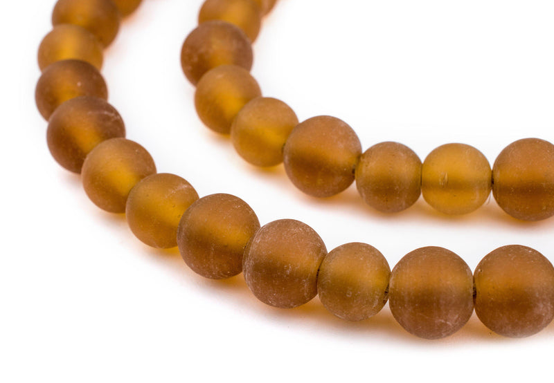 Amber Frosted Sea Glass Beads (11mm) - The Bead Chest