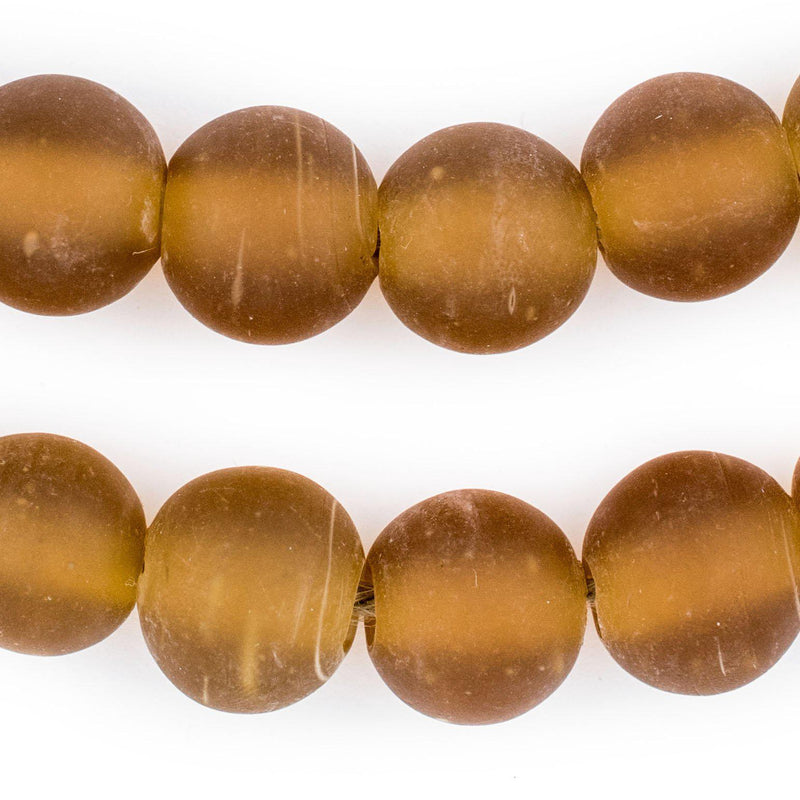 Amber Frosted Sea Glass Beads (18mm) - The Bead Chest