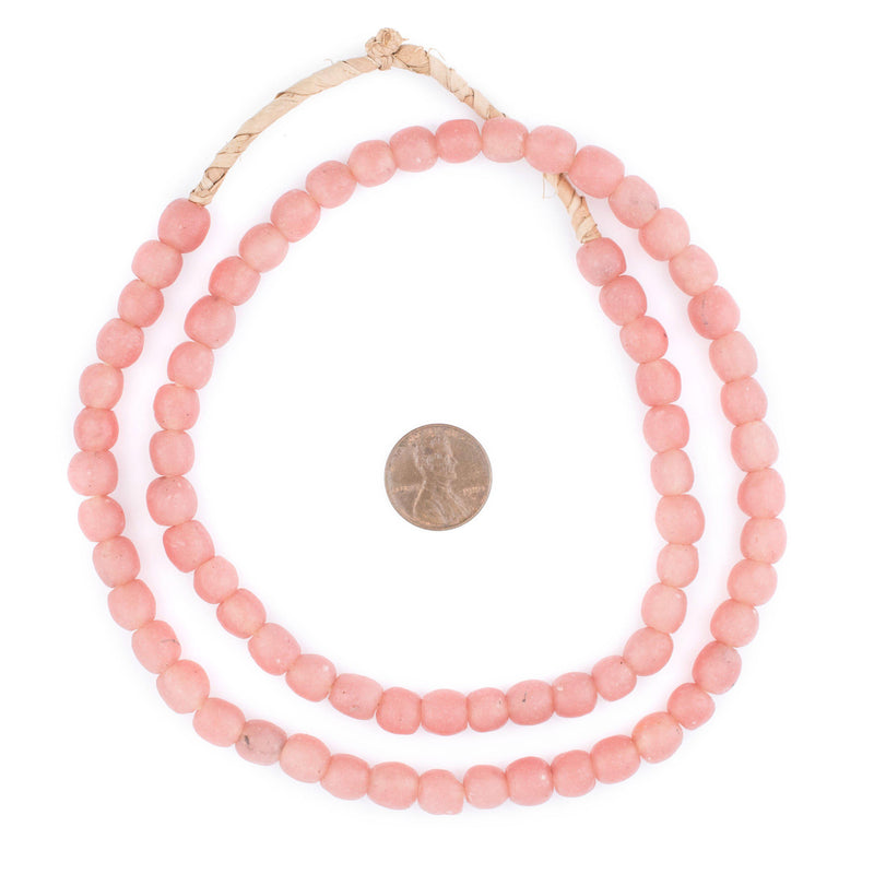 Opaque Rose Pink Recycled Glass Beads (9mm) - The Bead Chest