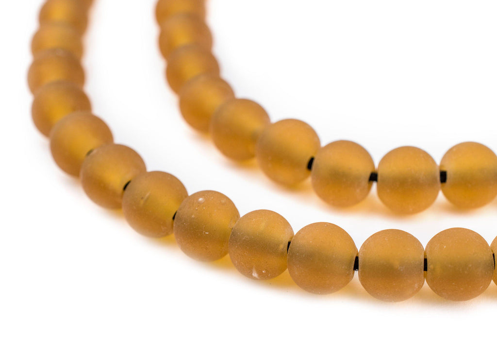 Amber Frosted Sea Glass Beads (7mm) - The Bead Chest