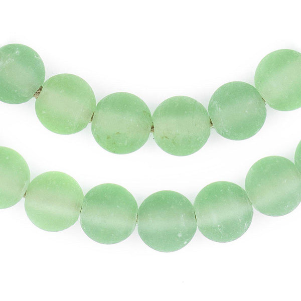 Green Frosted Sea Glass Beads (11mm) - The Bead Chest
