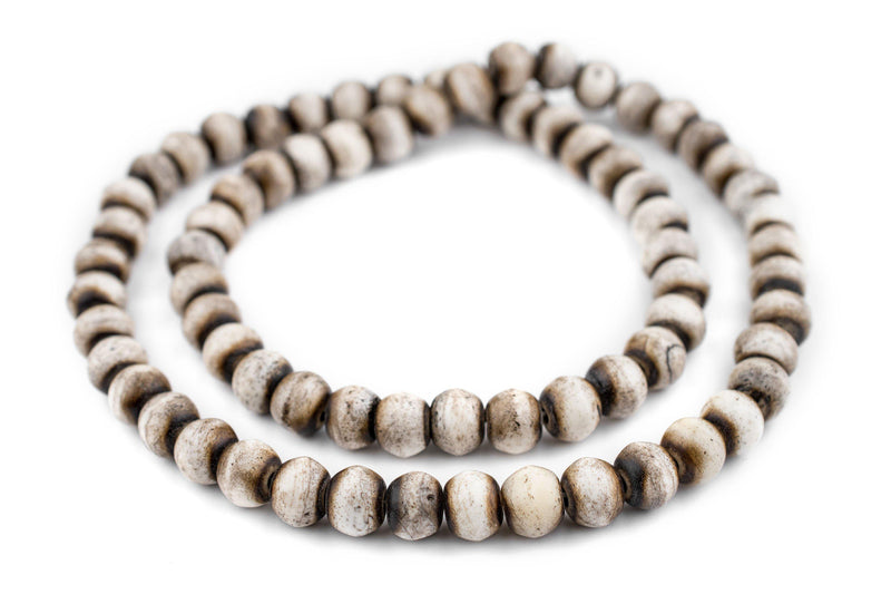 Grey Round Bone Beads (12mm) - The Bead Chest