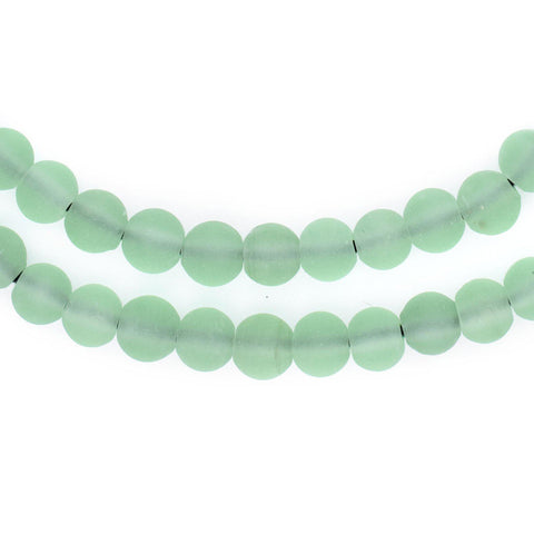 Green Frosted Sea Glass Beads (7mm) - The Bead Chest