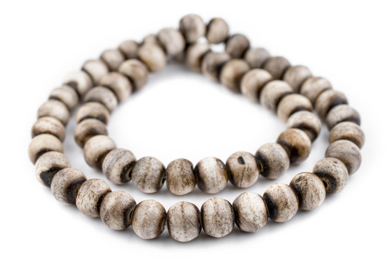 Grey Round Bone Beads (14mm) - The Bead Chest