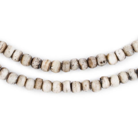 Grey Round Bone Mala Beads (6mm) - The Bead Chest