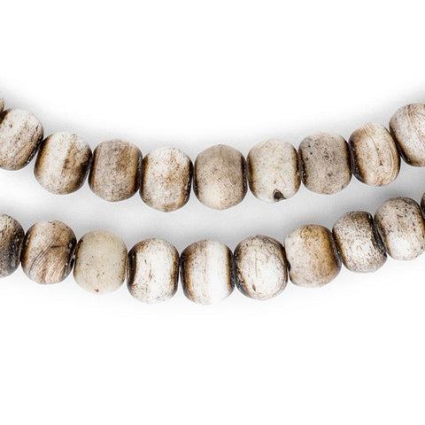 Grey Round Bone Mala Beads (10mm) - The Bead Chest