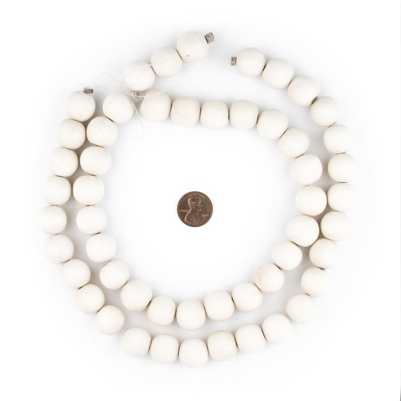 Navajo White Natural Wood Beads (16mm) - The Bead Chest