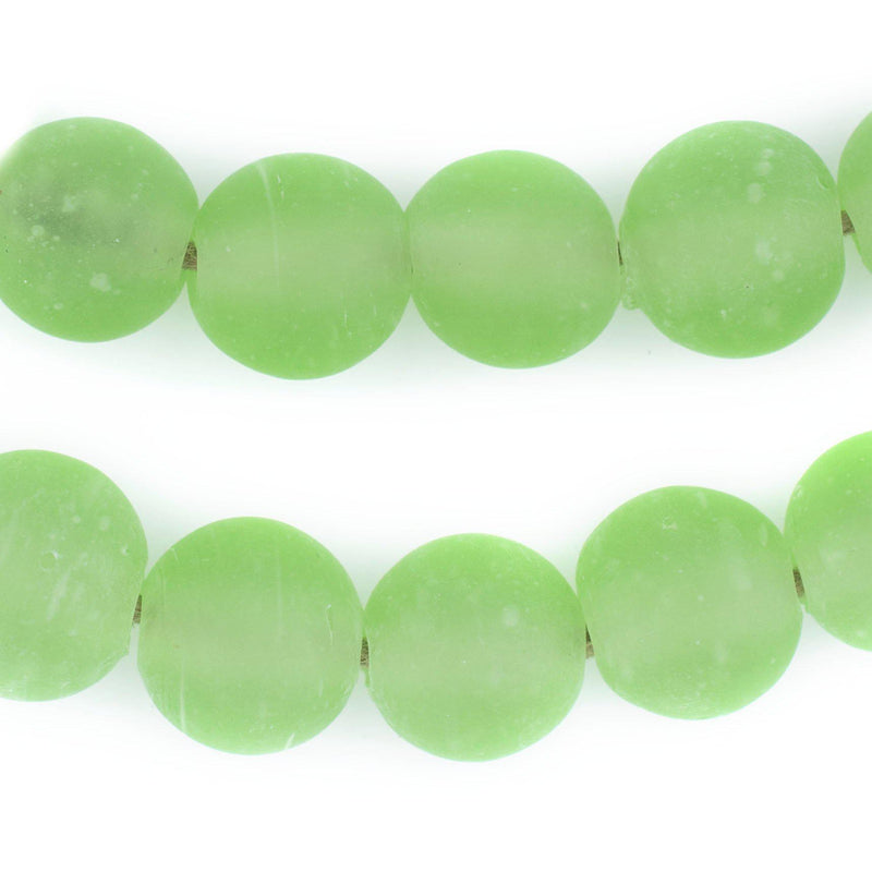 Green Frosted Sea Glass Beads (18mm) - The Bead Chest