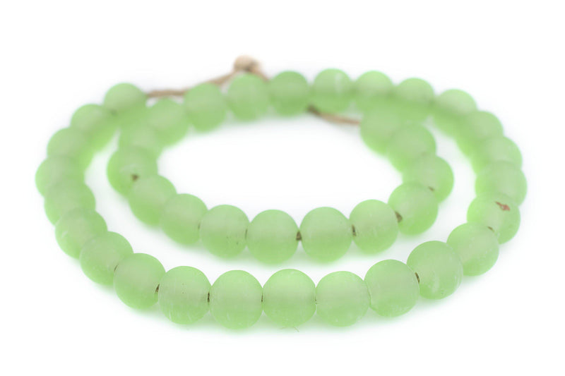 Green Frosted Sea Glass Beads (14mm) - The Bead Chest