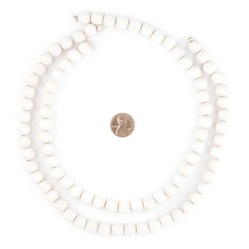 Navajo White Natural Wood Beads (10mm) - The Bead Chest