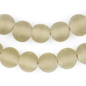Groundhog Grey Frosted Sea Glass Beads (14mm) - The Bead Chest