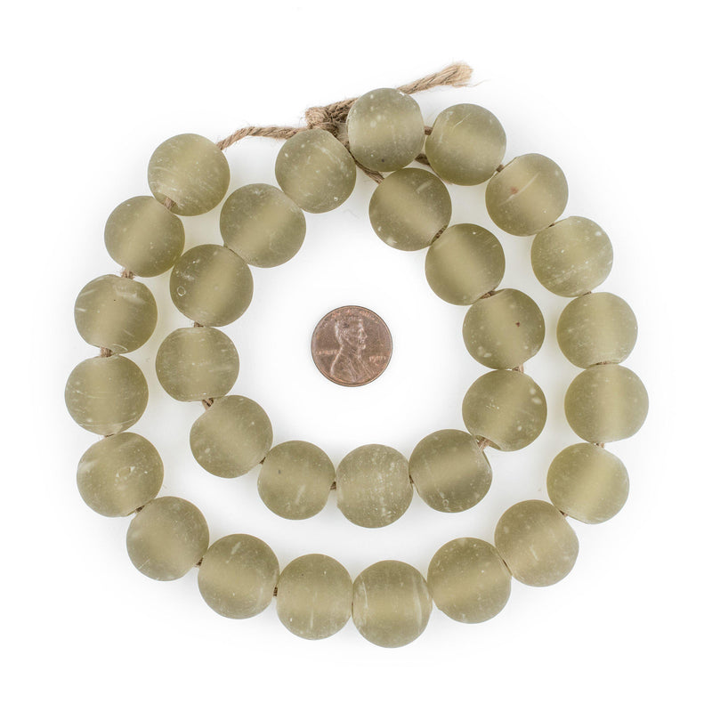Groundhog Grey Frosted Sea Glass Beads (18mm) - The Bead Chest