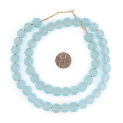 Clear Marine Frosted Sea Glass Beads (11mm) - The Bead Chest