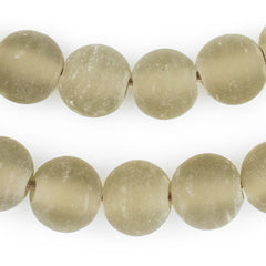 Groundhog Grey Frosted Sea Glass Beads (18mm)