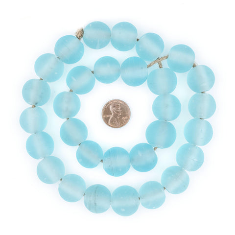 Clear Marine Frosted Sea Glass Beads (18mm) - The Bead Chest