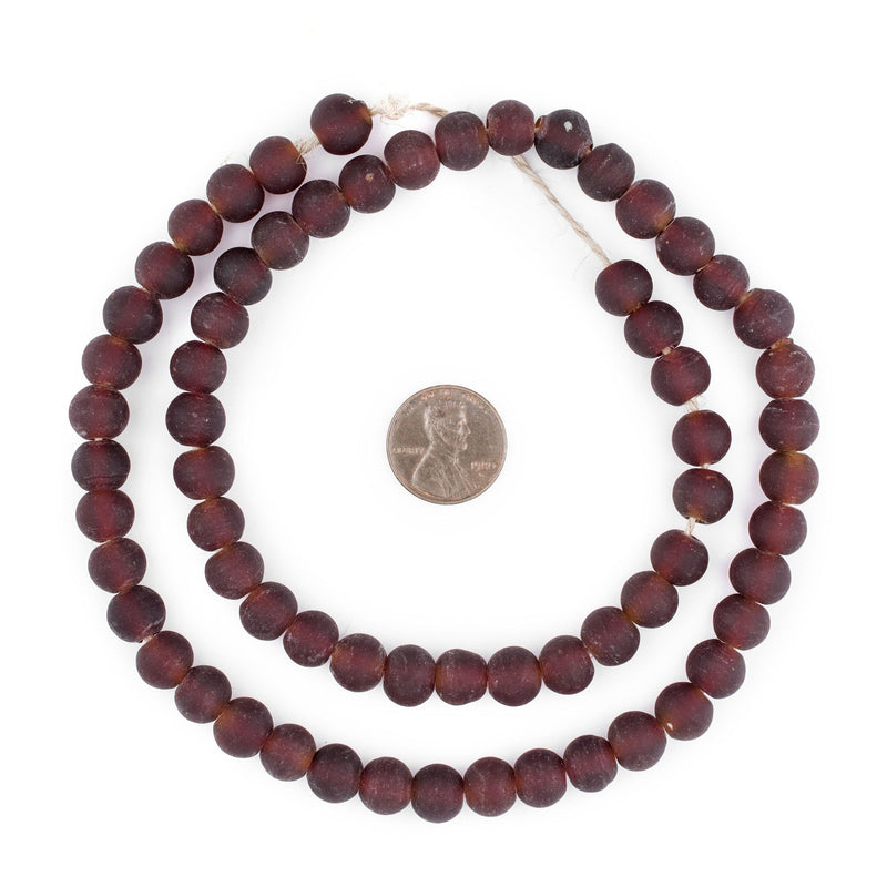 Dark Brown Frosted Sea Glass Beads (9mm) - The Bead Chest